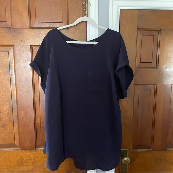Lands End Navy Crepe Blouse